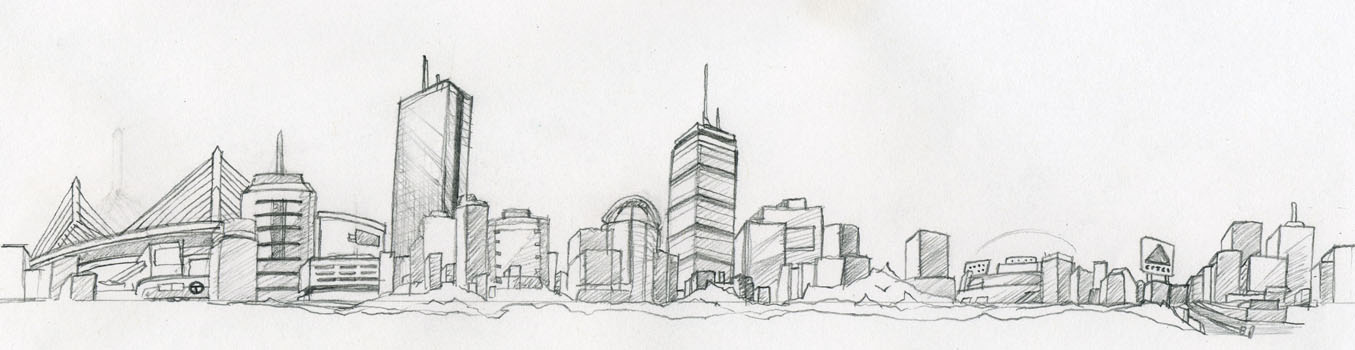 Tattoo concept. Boston Skyline bracelet.